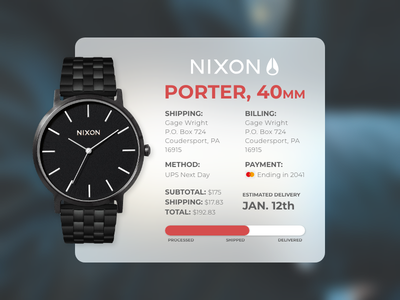 Got Time? time watch shipping order nixon email emailreceipt day017 dailyui