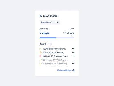 Leave balance widget for HR app dashboard ui design desktop app hr software hr saas widget