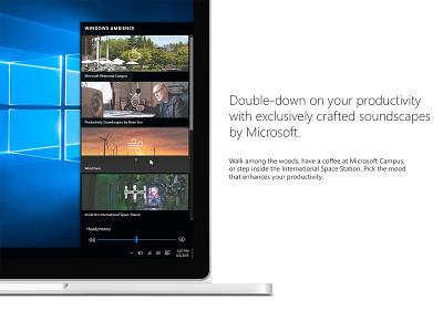 Windows Ambience speculative concept concept design productivity soundscape audio ui design desktop app app microsoft windows 10 windows