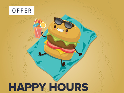 Happy hours, Version of Flat 50% off! photoshop illustration