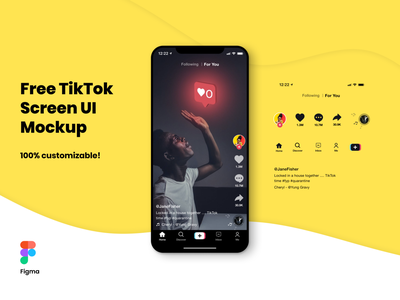 FREE TikTok Screen UI Mockup for Figma design customize customizable freelancer mockups figma ui tiktok freebie mockup free