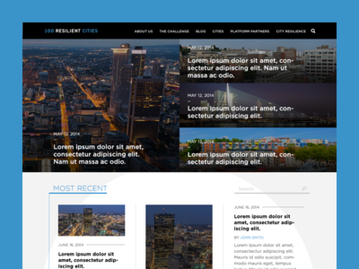 100 Resilient Cities responsive grid web design layout blog