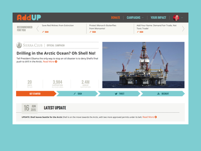 Sierra Club   AddUp ui progress bar responsive grid detail web app