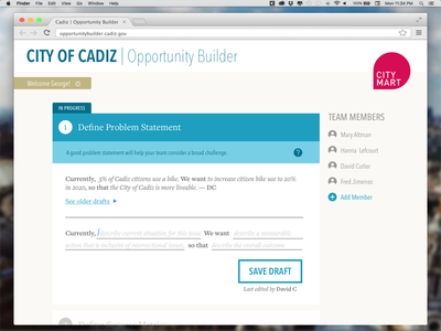 Problem Statement Editor web app civic tech interface editor