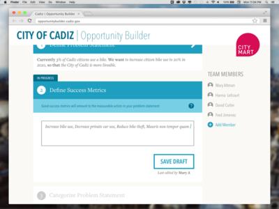 Problem Statement Metrics Editor web app civic tech interface editor