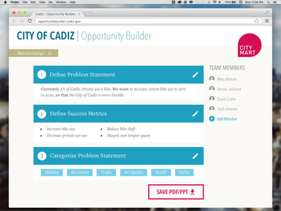 Save Problem Statement web app civic tech interface editor