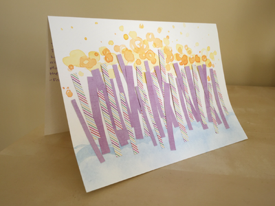 Birthday Card candles paper watercolor card birthday