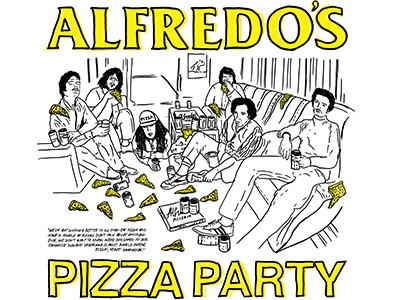 Pizza Party illustration pizza party black flag