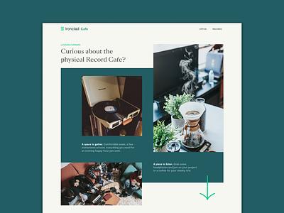 Record Cafe Website Mock branding typography web design web cafe music records