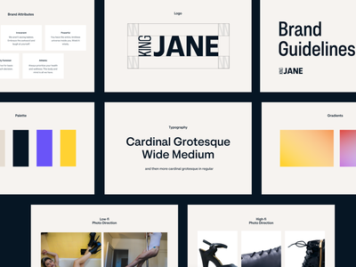 King Jane Brand Guide photography brand design brand guides pilleers values detail gradient color palette logo typography brand guide branding
