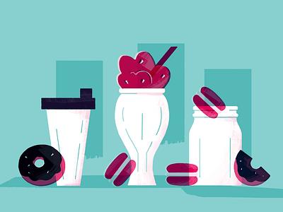 Smoothies for every occasion bright illo illustration illustrator riso overprint overlay shaker mason jar glass milkshake smoothie