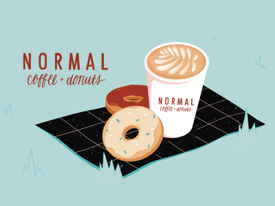 Just some normal donuts and coffee please park picnic donuts coffee illustration