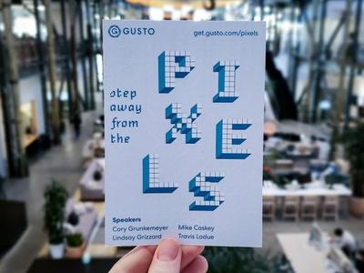 Step Away from the Pixels Postcard denver eventdesign designevent designtalk event invitation invite postcard