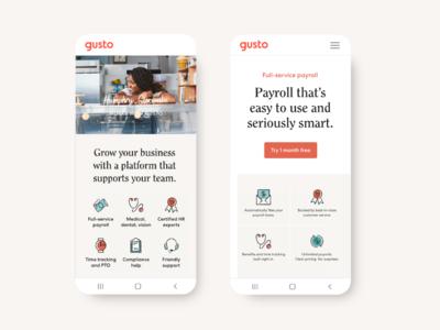 Mobile Marketing website | Gusto