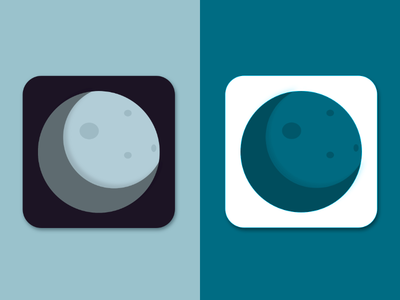 Dark side of the moon - app icon blue green crater dark side mobile icon mobile app icon app icon moon