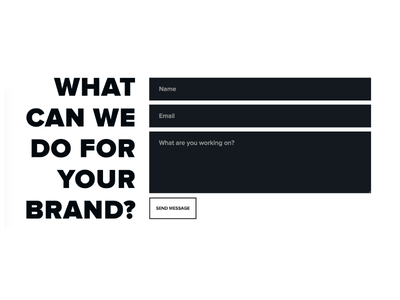 Big and Bold Contact Form outline send white black capital bold form contact