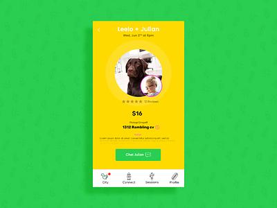 Session Details Page city profile name chat circle menu toolbar price animal pet pattern app