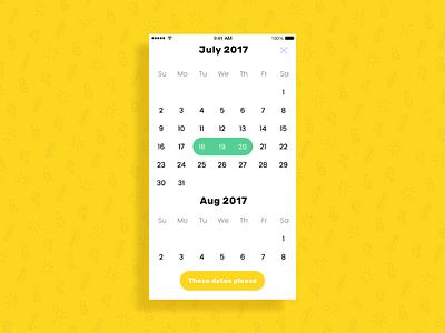 Calendar Selector date days button app calendar