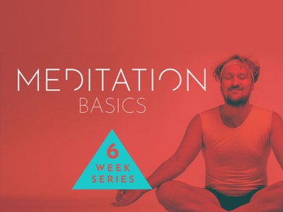 Event Poster man coral teal multiply red triangle meditation yoga banner poster