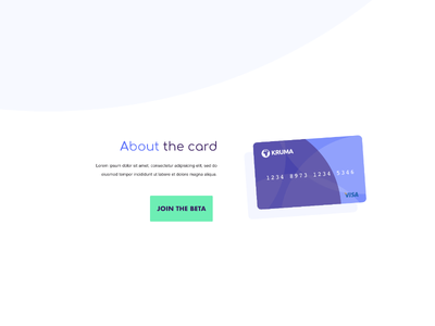 Credit Card Design currency crypto about circle one page landing page credit card