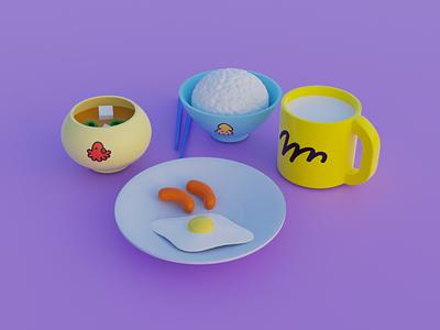 Breakfast of Crayon shinchan 3D ui animation graphic design 3d