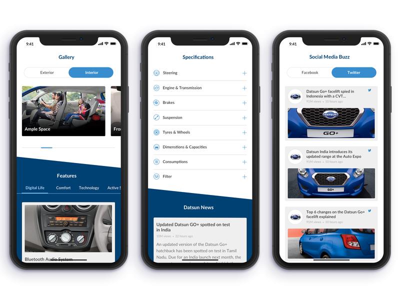Datsun Go+ Showcase mobile specifications social media interaction image gallery design app iphone x ui design