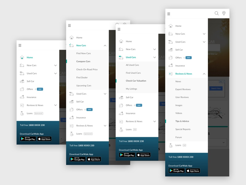 Mobile Site Navigation app store apple icon play store toll free dropdown ux-ui ui design mobile navigation burger menu