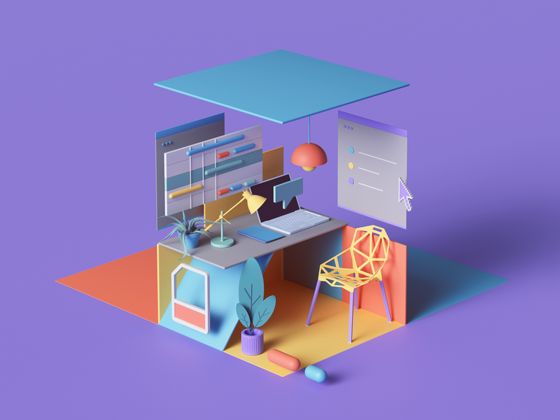 Time Management time colors render petertarka octanerender octane webdesign web isometric geometric abstract ux ui branding design illustration cinema4d c4d 3dart 3d