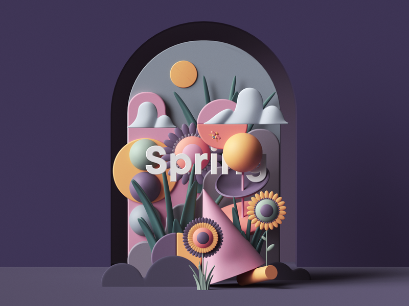 Spring web uiux ui paper petertarka octanerender octane plants flowers nature photoshop colors geometric abstract render illustration design cinema4d c4d 3d