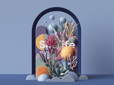 Sealife web uiux ui render plants photoshop petertarka paper octanerender octane nature illustration geometric flowers design colors cinema4d c4d abstract 3d