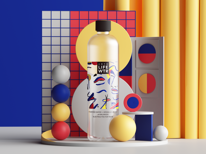 Arto Life Water web uiux ui render plants photoshop petertarka paper octanerender octane productdesign illustration geometric product design colors cinema4d c4d abstract 3d