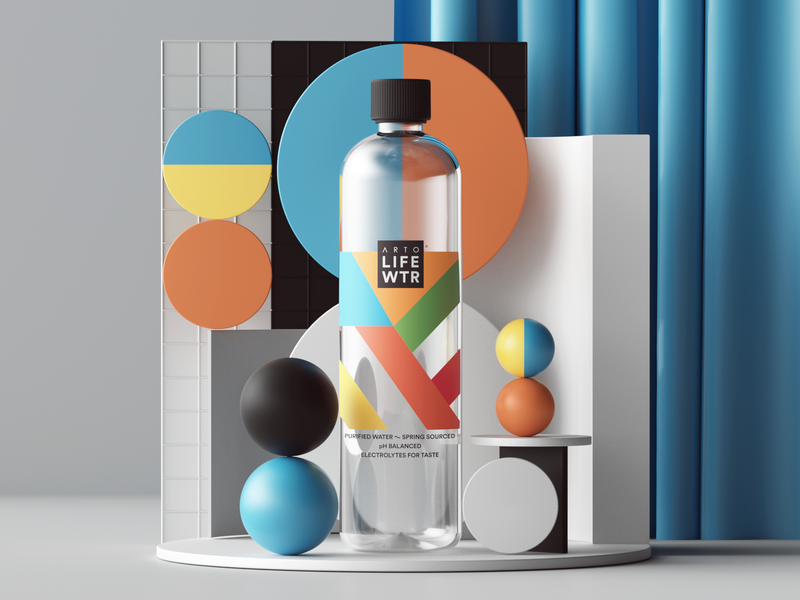 Arto Life Water web uiux ui render packaging photoshop petertarka paper octanerender octane water illustration geometric product design colors cinema4d c4d abstract 3d