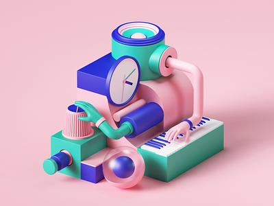 Lumi by Roli octane 3d art roli app music webdesign web uiux ui colors isometric geometric set render abstract design illustration cinema4d c4d 3d