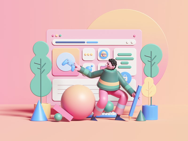 Under Construction web uiux ui render set photoshop petertarka dashboard octanerender octane app illustration geometric website design colors cinema4d c4d abstract 3d