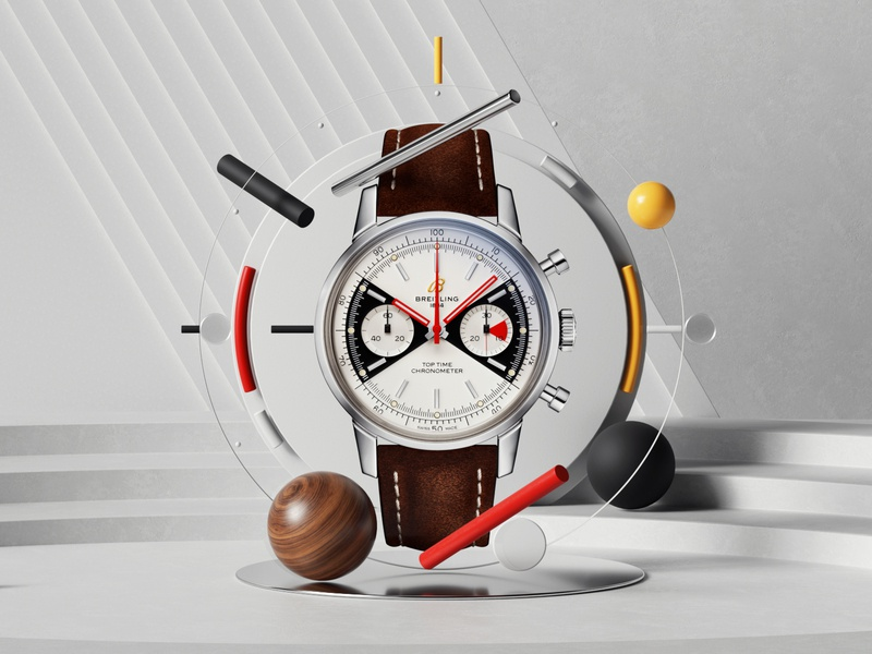 Breitling- Top Time web uiux ui render editorial photoshop petertarka layout octanerender octane space illustration geometric architecture design colors cinema4d c4d abstract 3d
