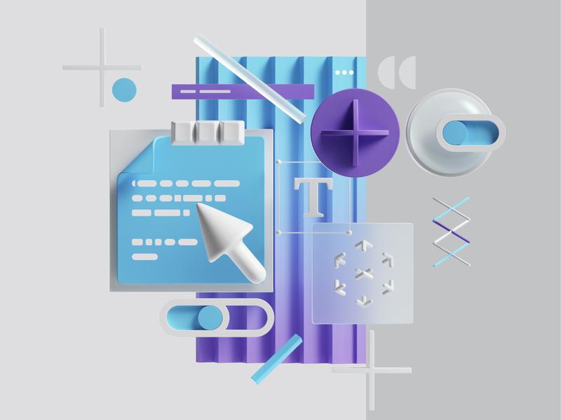 System system style modern gradient uiux petertarka 3d art octane web geometric render set abstract branding ui illustration design cinema4d c4d 3d