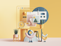 Workspace 2.0 tarka desk abstract colors 3dart space petertarka illustration webdesign web ui uiux render octane cinema4d c4d 3d workspace work office
