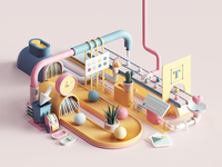 Design Factory isometric work webdesign web uiux ui tarka space render petertarka office octane illustration factory colors cinema4d c4d abstract 3dart 3d
