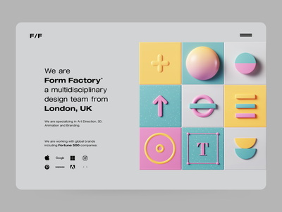 Form Factory ux ui design clean adobe colors ui geometric abstract design illustraion website webdesign web octane render cinema4d c4d 3d illustration 3d art 3d