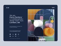 Form Factory v2 website webdesign web ux ui design ui render octane illustraion geometric design colors clean cinema4d c4d adobe abstract 3d illustration 3d art 3d