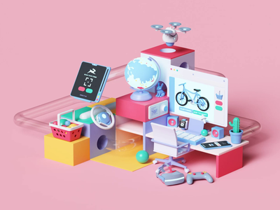 directus.io web ux ui app ae colors abstact 3dart design tarka petertarka playful isometric octanerender octane loop animation cinema4d c4d 3d