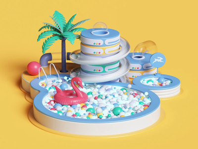 directus.io web ux ui app ae colors abstact 3dart design tarka petertarka playful isometric octanerende octane loop animation cinema4d c4d 3d