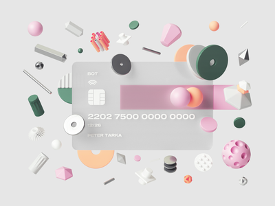 Bank of Tarka uiux ui card render pattern photoshop petertarka octanerender octane glass illustration geometric finance design colors cinema4d c4d fintech abstract 3d
