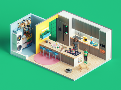 GME- Kitchen animation kitchen art character house home abstract 3dart tarka style colors photoshop adobe isometric cinema4d render design illustration c4d 3d