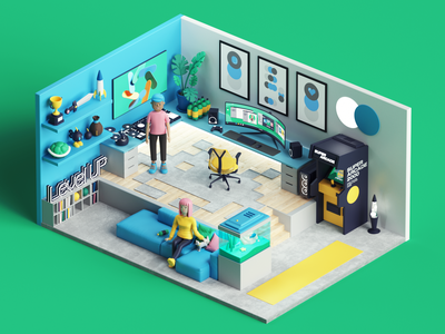 GME- Gaming Room style tarka photoshop adobe motion animation isometric play game gamers nerd gaming set cinema4d render design illustration c4d 3d
