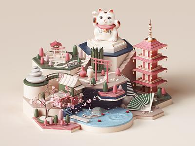 All Nippon Airways - Sacred City social socialmedia advertising nature colors style petertarka octane cat japan isometric design cinema4d render illustration c4d 3d