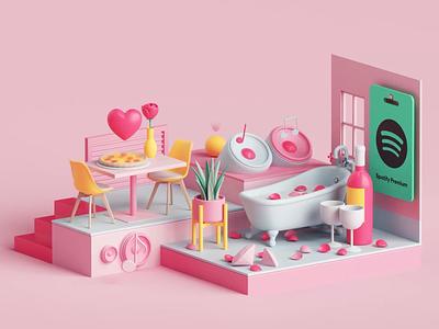 Spotify Premium Campaign fun tarka style colors animation motion graphics motion design motion ad music apple app spotify branding cinema4d render design illustration c4d 3d
