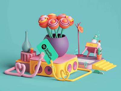Spotify Premium Campaign style colors loop animation motion graphics motion design motion apple app music spotify isometric set branding cinema4d render design illustration c4d 3d