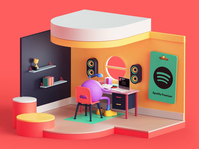 Spotify Premium Campaign style colors isometric motion design motion graphics motion animation web app apple music spotify branding set cinema4d render design illustration c4d 3d