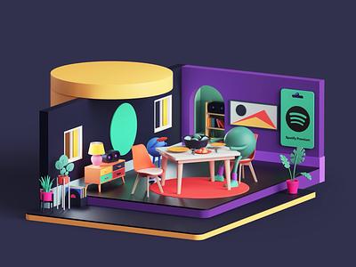 Spotify Premium Campaign tarka isometric web apple app music spotify motion graphics motion design motion animation set branding cinema4d render design illustration c4d 3d